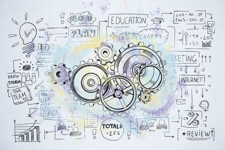 Drawing cogwheel and business start up sketch on wall. Teamwork and startup concept. 3D Rendering