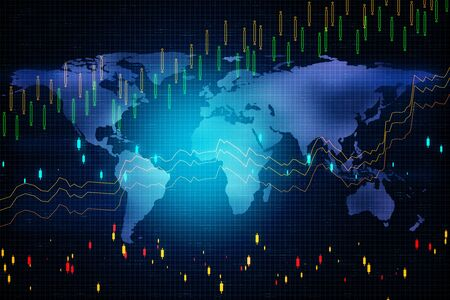 Business trading concept. Digital screen with forex graphs and world map. 3D Rendering
