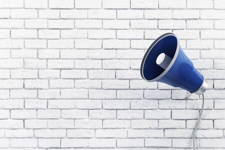 Old loud speaker on brick wall background. 3D Rendering