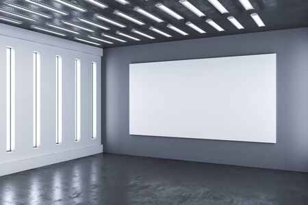 Hall interior with blank billboard on wall. Gallery concept. Mock up, 3D Rendering