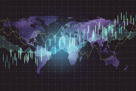 Digital screen with forex graphs and world map. Business trading concept. 3D Rendering