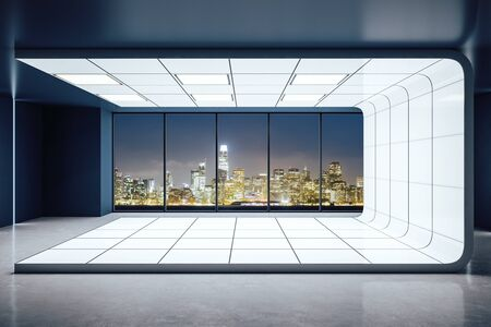 Futuristic contemporary empty interior with panoramic night city view. 3D Rendering
