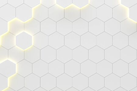 Creative glowing white hexagonal background. Technology and innovation concept. 3D Rendering