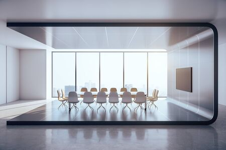 Futuristic meeting interior with blank tv screen and city view. Presentation concept. Mock up, 3D Rendering