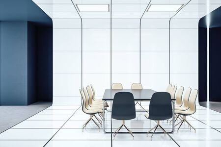 Modern conference room interior with copy space on wall. Mock up, . 3D Rendering