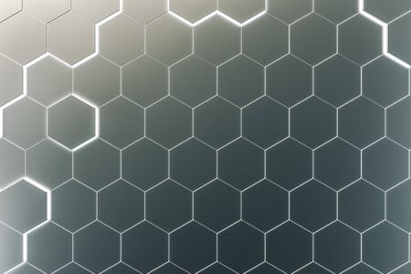 Creative glowing gray hexagonal background. Technology and innovation concept. 3D Rendering Reklamní fotografie