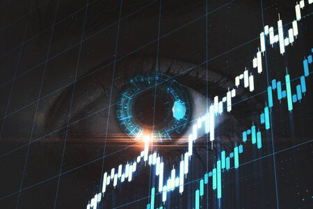Digital screen with stock charts and eye. Business security and trading concept. Mock up. 3D Rendering Zdjęcie Seryjne