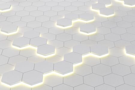 Creative digital white honeycomb wallpaper. Style and design concept. 3D Rendering Stock Photo