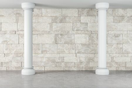 Contemporary gallery interior with white column. Mock up. 3D Rendering