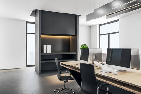 Executive workplace in a modern interior. 3d rendering