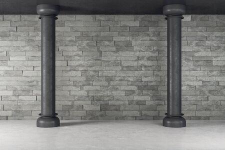 Contemporary gallery interior with black column. 3D Rendering 版權商用圖片