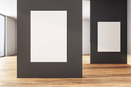 Modern black gallery interior with two empty banner. Mock up, 3D Rendering Foto de archivo