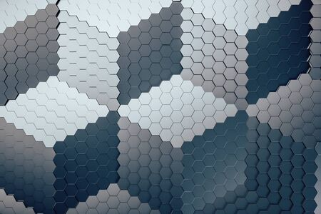 Gray background of hexagon texture. Computer generated picture. Mock up. 3D Rendering