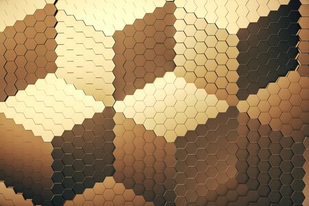 Gold honeycomb grid. Computer generated picture. Mock up. 3D Rendering