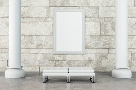 Modern gallery interior with poster, column and bench on concrete floor. 3D Rendering