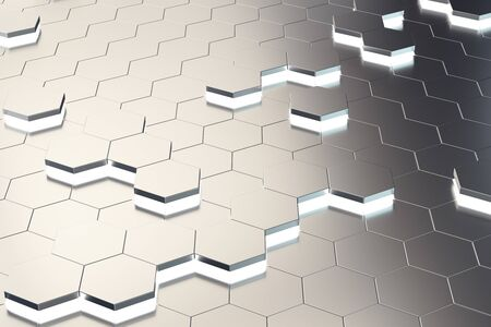 Creative digital honeycomb wallpaper. Style and design concept. 3D Rendering Stock Photo