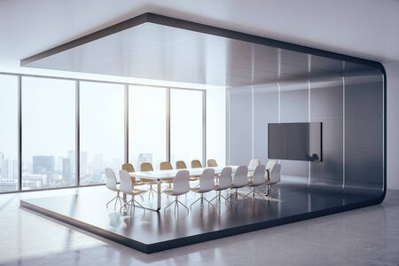 Futuristic conference interior with blank tv screen and city view. Presentation concept. Mock up, 3D Rendering