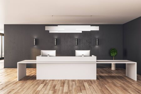 Contemporary reception table standing on wooden floor. Mock up, 3D Rendering