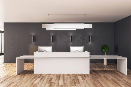 Zeitgenössischer Empfangstisch, der auf Holzboden steht. Mock-up, 3D-Rendering