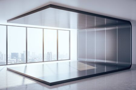 Futuristic modern empty interior room with panoramic city view. 3D Rendering