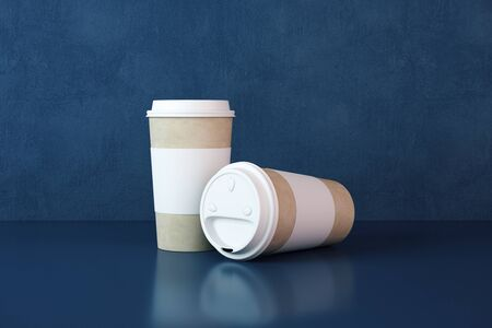Two white paper coffee cups on table. Food and drink concept. 3D Rendering Stock fotó