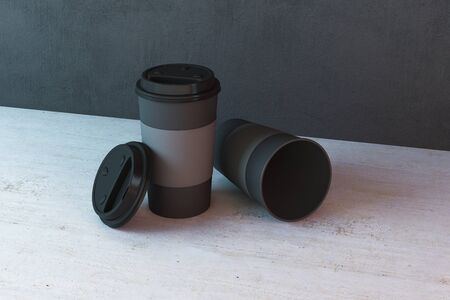 Two paper coffee cups on table. Food and drink concept. 3D Rendering Stok Fotoğraf