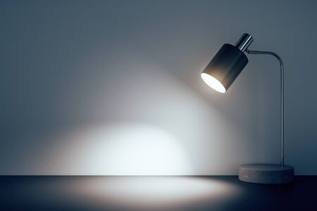 Lampe de table de bureau au sol dans une pièce en béton. Rendu 3D