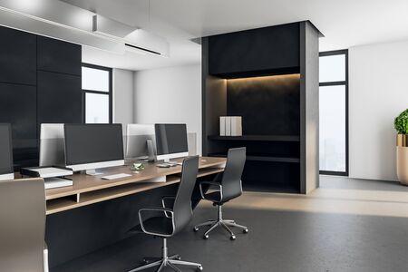 Posto di lavoro esecutivo in un interno moderno. Mock up, rendering 3D Archivio Fotografico