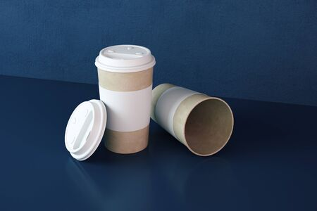 Three disposable coffee cups on table. Food and drink concept. 3D Rendering