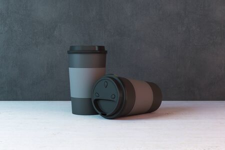 Disposable two paper cup of coffee on table. 3D Rendering Stock fotó