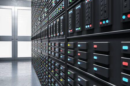 Sala de servidores futurista. Concepto de tecnología y comunicación. Representación 3D