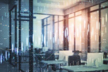 Interior de la oficina contemporánea con gráfico de computadora y forex. Concepto de éxito empresarial y financiero.