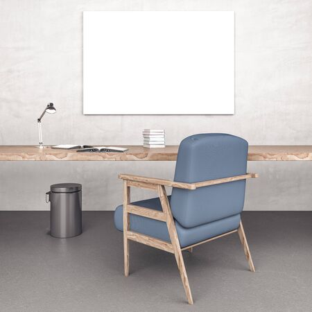 Home office desk with books, blue chair and blank poster on wall. Business and education concept. 3D Rendering 스톡 콘텐츠