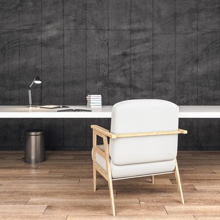 Minimalistic office desk with books and chair. Business and education concept. 3D Rendering