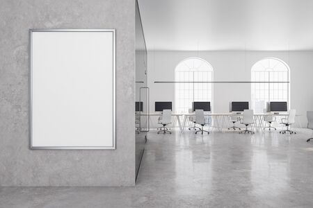 Contemporary office in classic interior with blank billboard on concrete wall. 3D Rendering