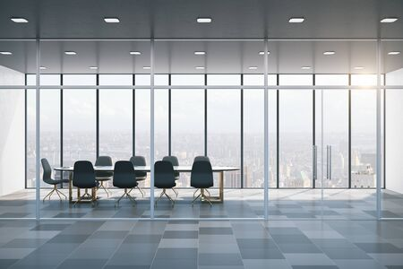 Meeting room interior with city view. Business and teamwork concept. 3D Rendering