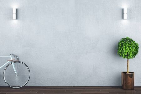 Clean white hipster interior with bicycle, plant and concrete floor. 3D Rendering Stok Fotoğraf