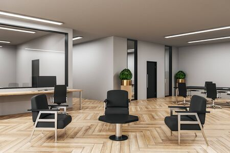 Modern coworking office interior with wooden floor. Workplace concept. Mock up, 3D Rendering Stok Fotoğraf