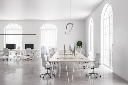 Stylish coworking office in classic interior with white concrete wall and bright city view. 3D Rendering