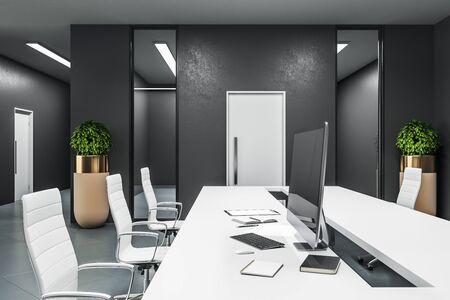 Stylish coworking office grey concrete floor. 3D Rendering