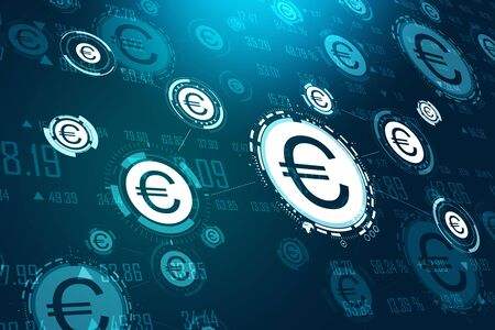 Creative glowing euro icon interface hud on dark blue wallpaper. Cryptocurrency and money concept. 3D Rendering