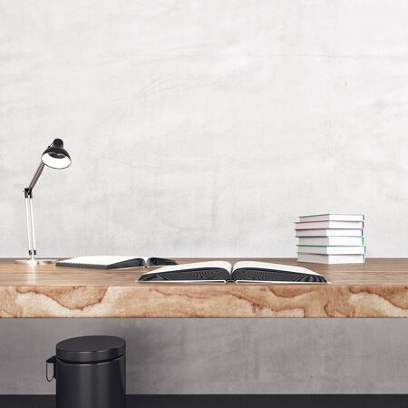 Minimalistic office desk with books. Business and education concept. 3D Rendering
