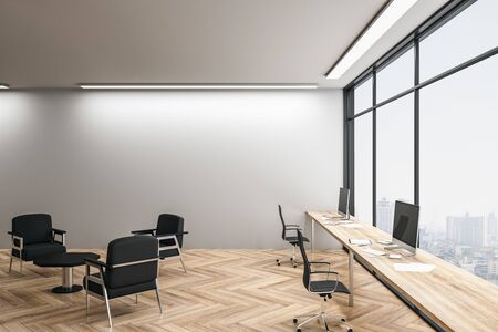 Creative office interior with panoramic city view and daylight. 3D Rendering Stok Fotoğraf