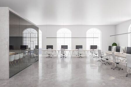 Coworking office in classic interior with white concrete wall and bright city view. 3D Rendering