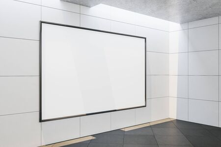 Modern concrete gallery interior with empty banner.  Gallery, advertisement, presentation concept. Mock up, 3D Rendering
