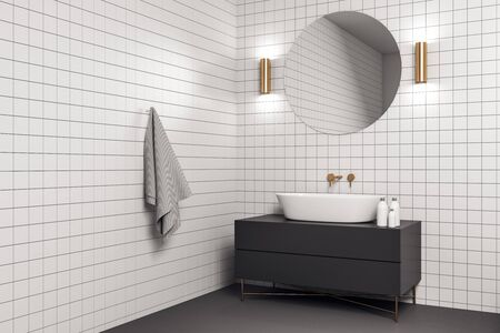 Contemporary bathroom interior with white tile wall, mirror and sink. Mock up. 3D Rendering