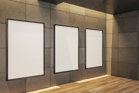 Concrete gallery interior with three empty poster.  Gallery, advertisement, presentation concept. Mock up, 3D Rendering
