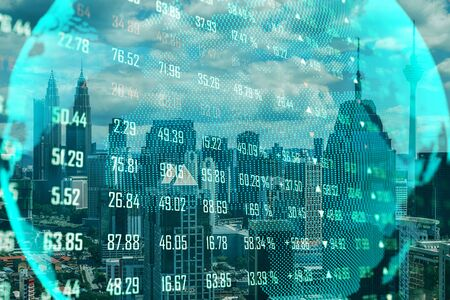 Global trading concept with screen. Lighting earth globe at stock chart on city  background. Stok Fotoğraf
