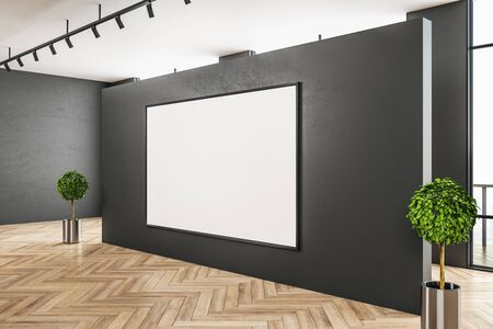Contemporary gray gallery interior with blank billboard and daylight. Concrete floor. Mock up, 3D Rendering