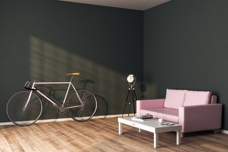 Contemporary living room interior with pink sofa, bicycle, lamp and wooden coffee table. 3D Rendering